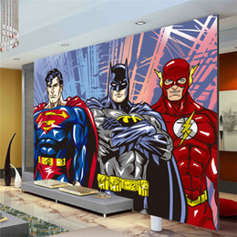Wholesale Country Decor Wallpaper - Custom 3D Wall Murals Batman Superman Flash Wallpaper Comics photo wallpaper Boys Kids Bedroom Living room Room decor Superhero
