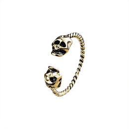 Wholesale Wholesale Silver Mens Wedding Rings - Wholesale 10Pcs lot Promotion 2017 New Fashion Midi Rings Vintage Jewelry Demon Skull Gold Filled Rings 925 Silver Mens Biker Rings
