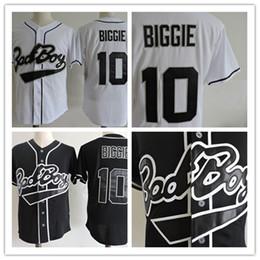 Wholesale Discount Baseball - Mens stitched white cheap Biggie Bad Boy MOVIE jerseys discount Black #10 Biggie Biggie Bad Boy BASEBALL JERSEY size S-3XL
