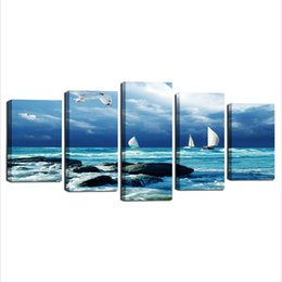 Wholesale Boats Canvas Wall Arts - Landscape Painting, Seascape Canvas Prints Wall Art Sailing Boat Canvas Art for Living Room Bedroom Wall Decorations