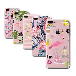 Wholesale Iphone 5s Case Fashion Clear - Fashion Soft Colorful Flamingo Case Cover for iPhone X 8 6 6S 5 5s SE 7 7Plus Transparent TPU Cell Phone Cases Fundas Capa Cute Clear Skin