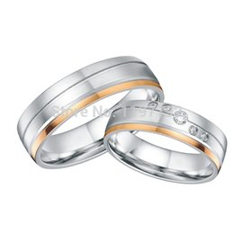 Wholesale Cheap Titanium Wedding Bands - 18k gold plating surgical grade 316L titanium steel wedding bands engagement rings sets for couples wholesale cheap jewelry