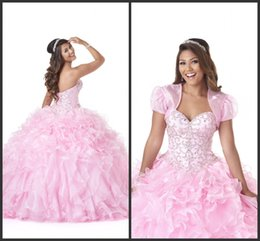 Wholesale Jacket For Quinceanera Dress - Pink Princess Ball Gown Pipings Elegant Dress For Teenagers 2017 Crystals Beading Lace Up Back Dress With Jacket High Quality Quinceanera