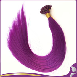 plumes synthétiques en gros Promotion Vente en gros- 100Pcs / Lot 20''Purple Fibre synthétique Grizzly Plume I Tip Extensions de cheveux Cosplay Party Halloween Masquerade Hair Ornament