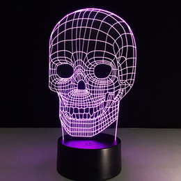 Wholesale Table Deco For Weddings - Wholesale- 3D LED Lamp Light USB Skull shape Colorful gradient Night Light for Wedding Halloween Deco creativ Christmas Gift LED table lamp