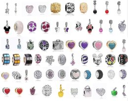 Wholesale Sterling Silver European Charms Wholesale - Wholesale 50Pcs Mixed Theme Pendant Charm Sterling Silver European Charms Bead Fit Pandora Bracelets Snake Chain Fashion DIY Jewelry