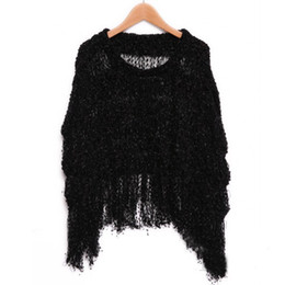 Wholesale Womens Thin Sweaters - Wholesale- Womens Knitwear Tops Tassels Batwing Sleeve Sweater Jumper Poncho Cape