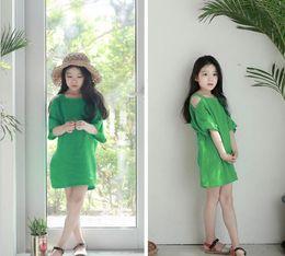 Wholesale Super Cute Korean - 2017 new styles Hot sell Super cute summer the Middle childhood Korean Style half sleeve Dress skirt girls Dress 100% Cotton