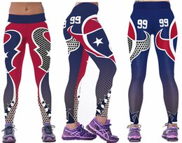 Wholesale Cheap Black Leggins - New Women Sexy Fitness Houston #99 Blue American Football Leggings 3D Print Lady Running Leggins Training Yoga Pants Wholesale Cheap