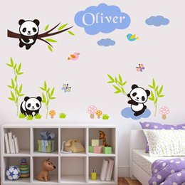 Wholesale Wall Stickers Panda - Custom Babys Name Wall Stickers Creative DIY Panda Bamboo Art Mural Cartoon Decals Kids Room Decor