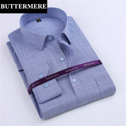 Wholesale Men Cotton Formal Shirt Purple - Wholesale- BUTTERMERE Brand Men Fashion Shirts Bamboo Fabric Cotton Long Sleeve Dress Shirt Formal Wear Business Party Shirt Camisa Social