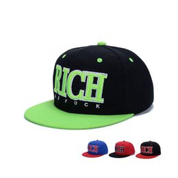 Wholesale Rich Prints - Best gift Spring and autumn season along the hat men and women leisure RICH letters hip hop hat shade hat WMB009