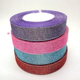 Wholesale Glitter Christmas Picks - 4 rolls 20mm width glitter ribbon gift packing belt wedding party Christmas embellishment weaving sewing accessories A841