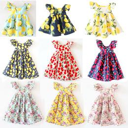 Fruit cherry онлайн-INS девушки мода платья девочка печатных вишня лимон платья фрукты цветок богемный платье старинные цветок платье 12 цветов 2017 Новое Лето