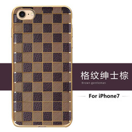 Wholesale Plastic Grid Plate - Royal Luxury Case Grid Diamond Electroplate Plating Gilded Frame Soft TPU Silicone Cover For iPhone 7 Plus 4.7 5.5 inch Free DHL MOQ:100pcs