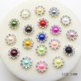 Wholesale Purple Pearl Flatback - 100pcs 14mm Round Pearl Metal Wedding Rhinestone Embellishments Buttons Flatback Buckle Diy Hair Accessories Wedding Decoration