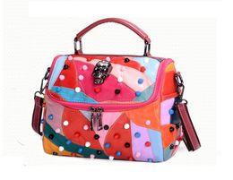 Wholesale Genuine Leather Skull - Hot Sales Unique Genuine Leather Handbags Fashion Rivets Skull Woman Messenger Bags 2017 Spring Ladies Handbag Flap Bags A012-2