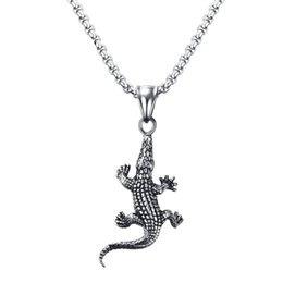 Wholesale Silver Chain Weights - fashion and popular nacklace jewelry 45mm Titanium steel alligator pendant silver color for men weight 24.1g