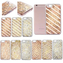Wholesale Iphone Golden Cover - Golden Luxury Bling Bling PC Case Ring Cases For iPhone 7 Plus 6 Plus Liquid Quicksand Back Cover