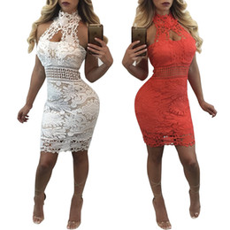 Wholesale Mini Robes Women - Women Summer Lace Mini Dress Sexy Halter Strapless Hollow Out Backless Bodycon Party Dresses Clubwear Femme Robe