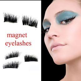Wholesale Wholesale Glitter Eyelashes - HOT Magnetic Eye Lashes 3D Mink Reusable False Magnet Eyelashes Extension 3d eyelash extensions magnetic eyelashes Round box 4pcs in 1 set