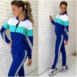 Wholesale Ladies Piece Jogging Suits - 2016 Autumn Tracksuit Suit Women Zipper jacket Hoodies + Pants 2 Pieces Set Sweatsuit Ladies Track Suit Clothing jogging Sets