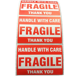 Wholesale Print Shipping Labels - 500pcs Packing Warning Stikcer FRAGILE Handle With Care With THANK YOU Shipping Label Sticker 1 Roll 2x3 Inches ( 51 X 76mm )