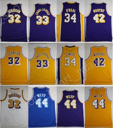 Wholesale Magic Cotton - 2017 Vintage Basketball Jerseys Throwback 33 Kareem Abdul Jabbar 32 Magic Johnson 42 Artest Worthy 44 Jerry West 34 Shaquille ONeal O Neal