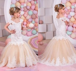 Wholesale Nude Tulle Wedding Dress - 2017 Lace Mermaid Flower Girls Dresses V Neck Off Shoulder Appliqued Lace Tulle White Nude Girls Pageant Dresses Sweep Train