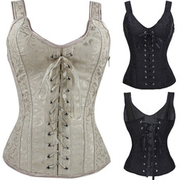 Wholesale hot sexy chest - Suspender Corset Newest Sexy Bow Bustiers Hot Shapers Body Chest Women Fashion Corset Twinset 2 Color Size S--XXL