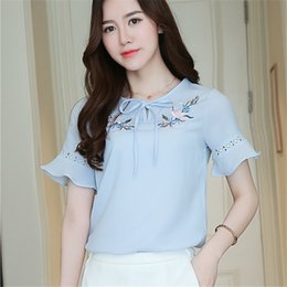 5792752b7165cc Discount butterfly sleeve chiffon blouses - Women chiffon shirt Short  butterfly sleeve Floral Embroidery female casual