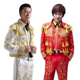 Wholesale Spanish Suit - Hand Made 2016 Long Sleeves Men's Court Suits Costumes Slim Tassel Spanish Bullfighter Costumes For Men