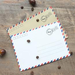 Wholesale White Paper Envelopes - Wholesale- 10pcs lot 12.3*17.5cm Vintage Cowhide&White Western Air Post Style Paper Envelope Western Envelopes Postcards Storage