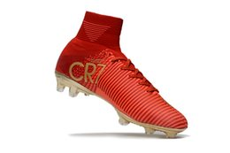 Wholesale Gold Football Boots - Red Gold Original Mercurial Unisex Superfly V Soccer Cleats Cristiano Ronaldo Men CR7 Kids Soccer Shoes Children football boots Magista Obra