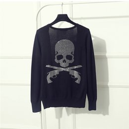 Wholesale Fix Computers - Wholesale- 2017 V Neck Long Sleeve Hot Fix Rhinestone Women Gun Skull Sweater Diamonds Knitted Cardigan Black Quality Guarantee ZH161