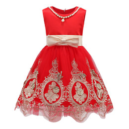 Wholesale Lace Necklace Child - 4 Colors Party Girls Dresses Flower Embroidered Tutu Lace Tulle Pearl Necklace Children Clothing Performance Dress Flower Dresses A6984
