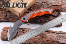 Wholesale half serrated pocket knife - MEDGE FOX F91 Karambit Claw Half Serrated Guthook 5CR15 Blade Orange Aluminum Handle Follding Pocket Knife EDC Camping Rescue Knives
