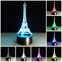 Wholesale 3d Eiffel Tower Decor - Free Shipping Colorful 3d Night Light Eiffel Tower Light Lamp Fancy Led Table Desk Lamp Home Decor Bedroom Reading Nightlight