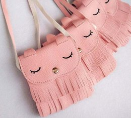 Wholesale Handmade Kids Bags - Baby Girls Coin Purses 10pcs lot Fashion Cute Cat Handmade Kids Purses Handbags Girl Tassel Bag Lace Kitty bag A 080