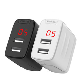 Wholesale Display Digital Ac - JOYROOM Digital Display Wall Charger 2.4A Double USB Ports US Plug AC Power Adapter Home Charger For iphone \ Samsung