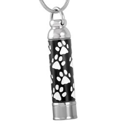 Wholesale Black Paw Charm - IJD8376 Hot sale dog pet paw print cylinder urn ash jewelry 316l stainless steel pet cremation pendant
