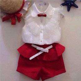 Wholesale Clothes For Kids Girls School - Wholesale- Girls White Blouse Lace School Girl Blouse For Girls Sleeveless Shirts Spring & Autumn Fashion Shirt Kids Clothes