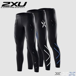 Wholesale Fitted Running Pants - Wholesale- Men Compression Tight Long Pants Sports Black Trousers Jogging Trousers Emoji Joggers Emoji Slim Fit Mallas Hombre Running