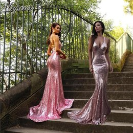 Wholesale Glitter Bridesmaid - Sparkled Rose Pink Sequined Mermaid Prom Dresses-Spaghetti Straps Glitter Open Back Sexy Long Evening Party Gowns Bridesmaid Dress