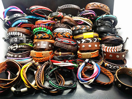 Wholesale Character Resins - Wholesale assorted 100PCs Mix Styles Hand Made Fashion Leather Alloy Cuff Ethnic Tribes Bracelets Brand New