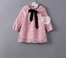 Wholesale Pink Velvet Clothing Wholesale - 2017 New Spring Children Girls Lace Overlay Pink Red Princess Party Dresses With Velvet Warm Dress Clothing B4420