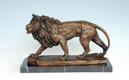 Wholesale Open Office Lighting - Arts Crafts Copper Bronze Sculpture Lion Statue Animal Lions Carving Hotel Office Decoration Business Gifts