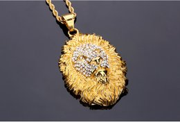 Wholesale Vintage Lion Necklace Jewelry - Lion Head Pendant Necklace Animal Lion King Vintage Gold Men's Hip Hop Fashion Jewelry For Men Women