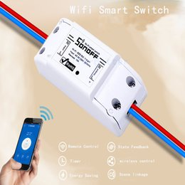 Wholesale Remote Switch Wifi - Wholesale-Itead Sonoff Smart Home Remote Automation Module Timer Switch Wifi Wireless Smart Home Remote Control Via IOS Android Phones