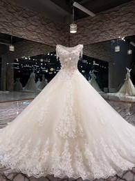 Wholesale Model Novias - Real Photos Vestidos De Novias Beautiful New Model Lace Wedding Dress 2018 Custom Made Chapel Train Crystals Sweetheart Long Bridal Gowns